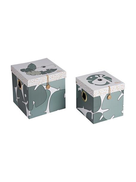 Set 2 scatole custodia Tiny Tropics, Cartone, laminato, Verde, Set in varie misure