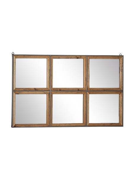 Espejo de pared Border, Espejo de cristal, metal, madera de pino, Marrón, An 93 x Al 53 cm