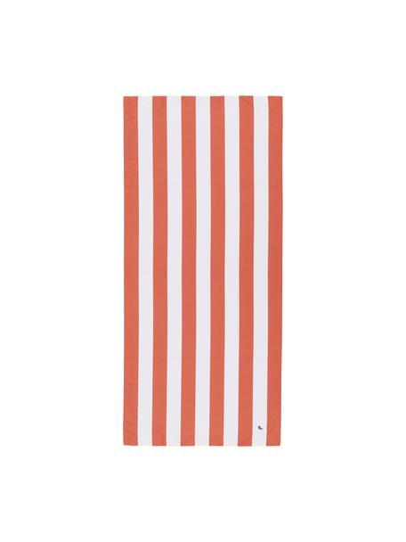 Szybkoschnący ręcznik plażowy z mikrofibry Cabana, Mikrofibra (80% poliester, 20% poliamid), Koralowy, biały, S 90 x D 200 cm