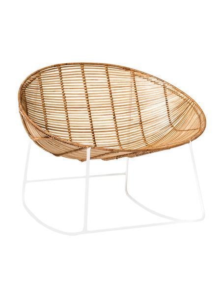 Rattan-Schaukelstuhl Orinoco mit Metall-Gestell, Sitzfläche: Rattan, Gestell: Metall, Sitzfläche: Rattan<br>Gestell: Weiß, 92 x 76 cm