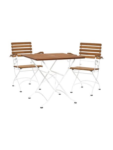 Balkon-Set Parklife, 3-tlg., klappbar, Gestell: Metall, verzinkt und pulv, Weiss, Akazienholz, Set mit verschiedenen Grössen