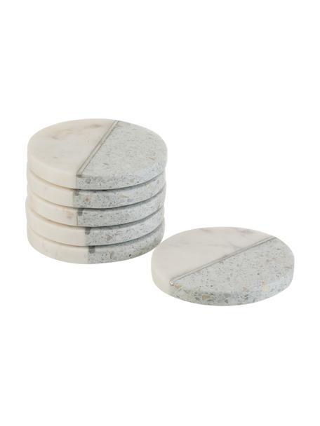 Posavasos de mármol/piedra Teresia, 6uds., Piedra, Azul, beige, plateado, Ø 10 cm