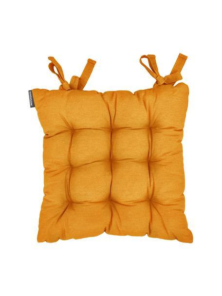 Einfarbiges Sitzkissen Panama in Gelb, Bezug: 50% Baumwolle, 45% Polyes, Gelb, 45 x 45 cm