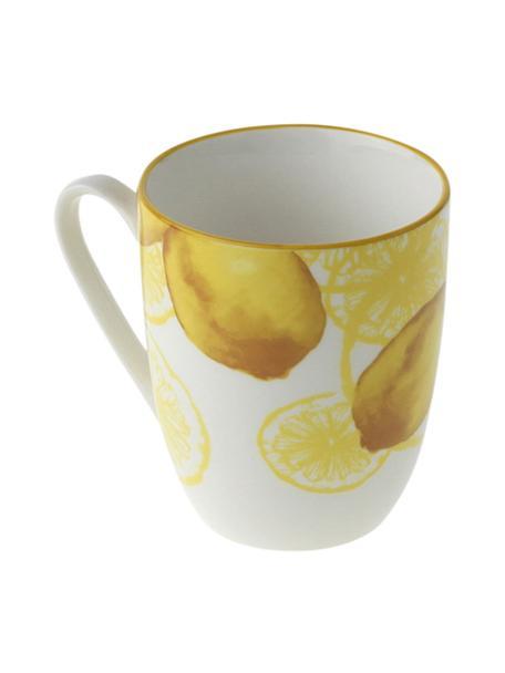 Tazza con motivo limone Lemon 2 pz, Porcellana, Bianco, giallo, Ø 9 x Alt. 10 cm