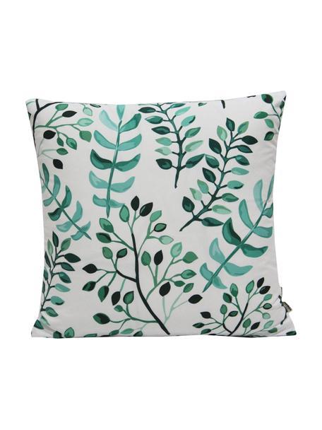 Federa arredo con motivo a foglie Leaves, Poliestere, Bianco, tonalità verdi, Larg. 40 x Lung. 40 cm