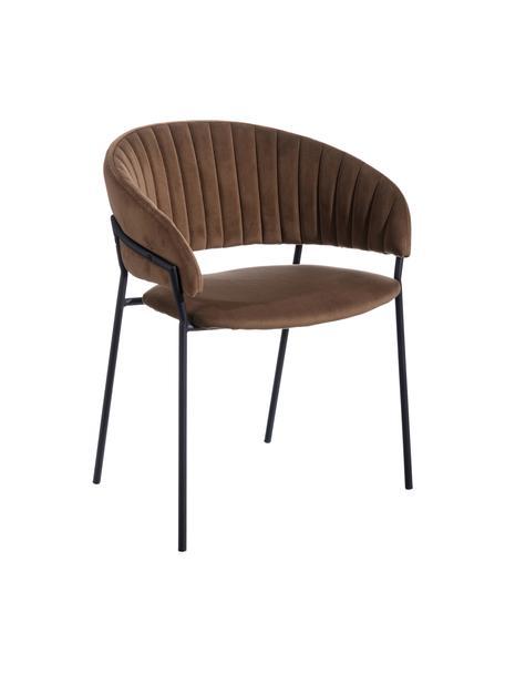Sedia imbottita in velluto marrone Room, Rivestimento: 100% velluto di poliester, Struttura: metallo rivestito, Marrone, Larg. 53 x Prof. 58 cm