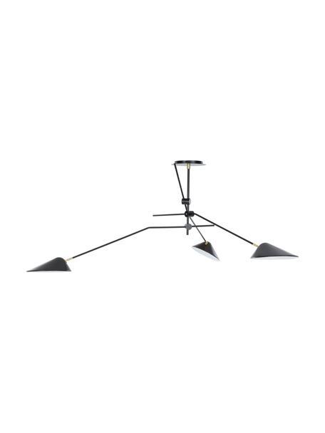 Grote plafondlamp Neron, Baldakijn: gepoedercoat metaal, Zwart, 173 x 52 cm
