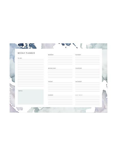 Wochenplaner Pastel Stains, Papier, Blautöne, Weiß, 30 x 21 cm