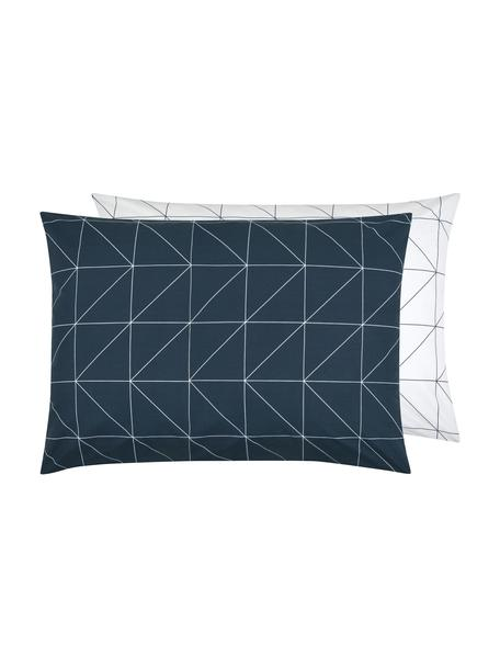 Funda de almohada de tejido renforcé Marla, caras distintas, Azul marino, blanco crema, An 50 x L 70 cm