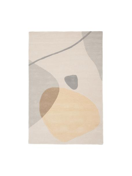 Tappeto in lana taftato a mano Luke, Retro: cotone, Beige, grigio, albicocca, Larg. 120 x Lung. 180 cm (taglia S)