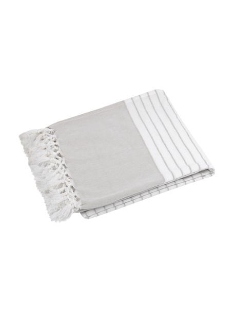 Gestreiftes Plaid Monica mit Fransen, 100% Baumwolle, Beige, Weiß, 125 x 150 cm