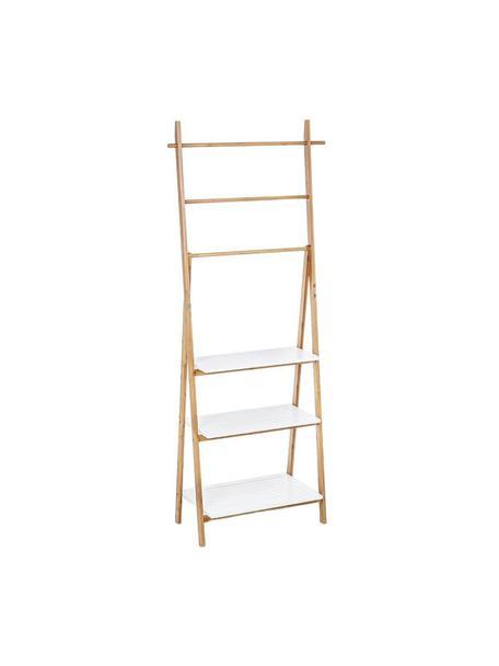 Estantería Audrey, Estructura: madera de bambú, Estantería: tablero de fibras de dens, Beige, blanco, An 53 x L 152 cm