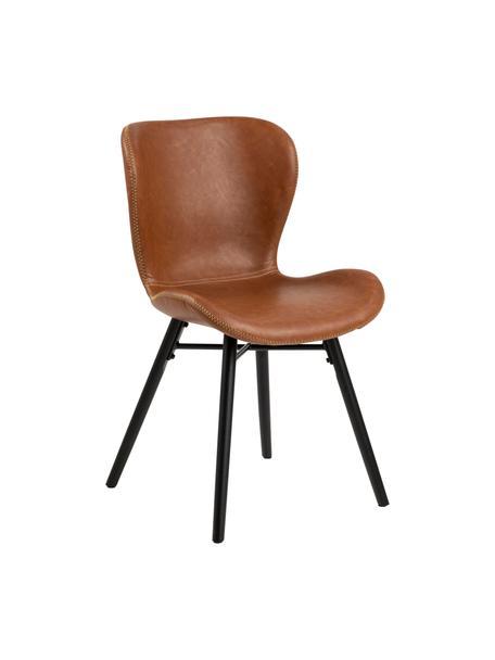 Krzesło tapicerowane ze sztucznej skóry Batilda, 2 szt., Tapicerka: sztuczna skóra (poliureta, Nogi: drewno kauczukowe, powlek, Koniakowy, czarny, S 47 x G 53 cm