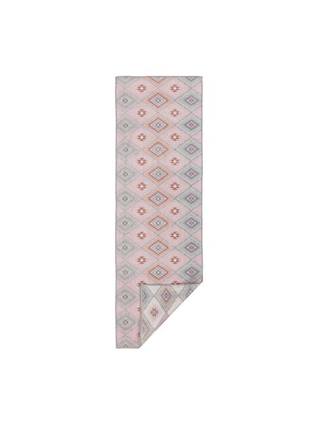 Dubbelzijdige loper Kelim Ana met ethnopatroon in rozetinten, 80% polyester 20% katoen, Roze, multicolour, 75 x 230 cm