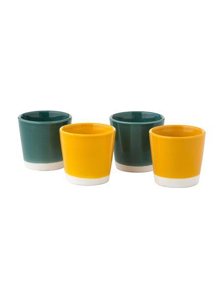Tazas de café Yen, 4uds., Arenisca, Tazas 1 y 2: blanco, verde Tazas 3 y 4: blanco, amarillo, Ø 7 x Al 6 cm
