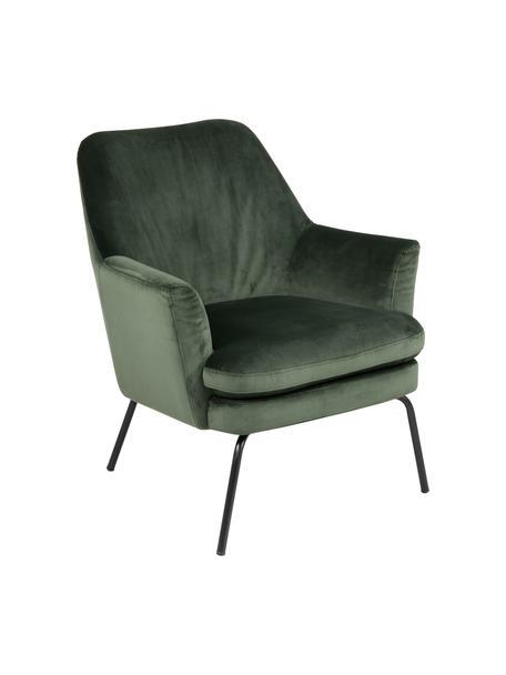 Fotel koktajlowowy z aksamitu Chisa, Tapicerka: poliester (aksamit) Dzięk, Nogi: metal malowany proszkowo, Aksamitny zielony leśny, S 68 x G 73 cm