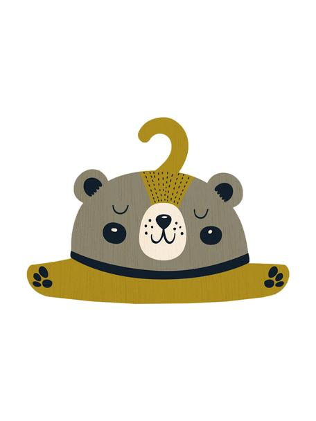 Kleerhanger Bear, Gecoat multiplex, Greige, mosterdgeel, zwart, crèmekleurig, 30 x 30 cm