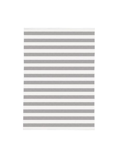 Tappeto in cotone a righe Blocker, 100% cotone, Bianco crema/grigio chiaro, Larg. 160 x Lung. 230 cm