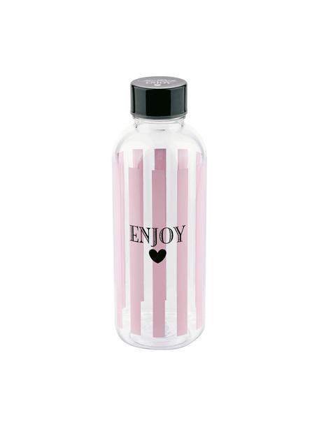 Trinkflasche Enjoy, Kunststoff, frei von BPA und Phthalaten, Flasche: Transparent, Rosa, Schwarz<br>Deckel: Schwarz, Ø 8 x H 21 cm