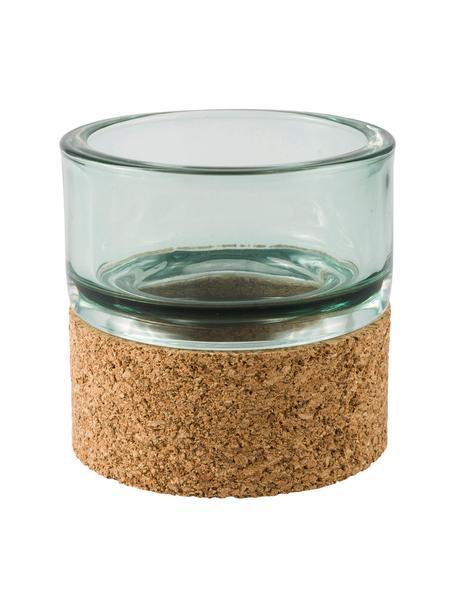 Teelichthalter Puritan, Sockel: Kork, Grün, Ø 9 x H 9 cm