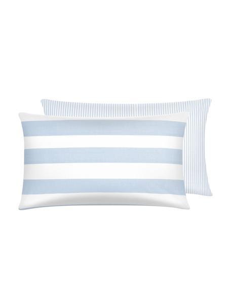 Funda de almohada de algodón Lorena, caras distintas, Azul claro, blanco crema, An 50 x L 70 cm