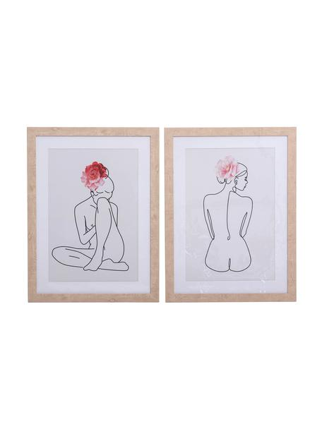 Set de impresiones digitales enmarcadas, 2pzas., Multicolor, An 45 x Al 60 cm