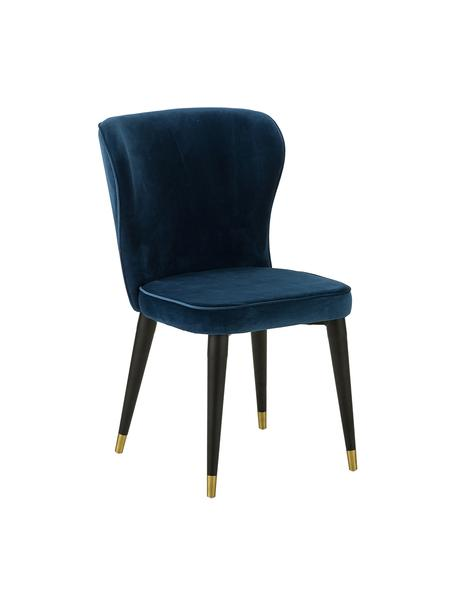 Sedia imbottita in velluto Cleo, Rivestimento: velluto (poliestere) 50.0, Gambe: metallo verniciato, Blu scuro, Larg. 51 x Prof. 62 cm