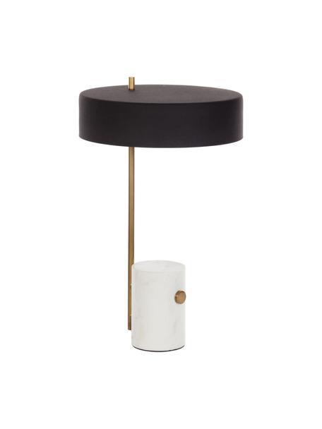 Tafellamp Phant met marmeren voet, Lampenkap: gecoat metaal, Lampvoet: marmer, Wit, zwart, 30 x 53 cm