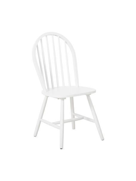 Windsor-Holzstühle Megan aus Holz, 2 Stück, Kautschukholz, lackiert, Weiss, B 46 x T 51 cm
