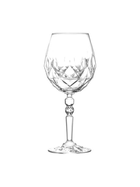 Kristallen rode wijnglazenset Calicia met reliëf, 6-delig, Luxion kristalglas, Transparant, Ø 10 x H 23 cm