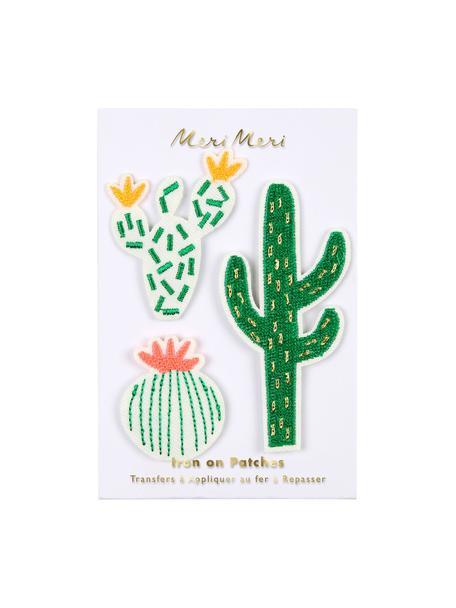 Set 3 toppe termoadesive Cactus, Tela di cotone, Verde, bianco, rosa, giallo, Set in varie misure