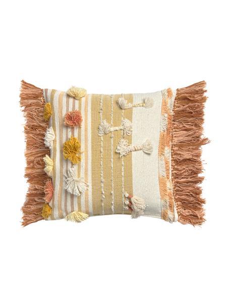 Boho Kissenhülle Colors mit Fransen und Verzierungen, 100% Baumwolle, Mehrfarbig, 45 x 45 cm