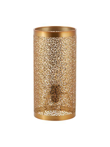 Kleine Nachttischlampe Hermine aus Metall, Lampenschirm: Messing, Messing, matt, Ø 14 x H 28 cm