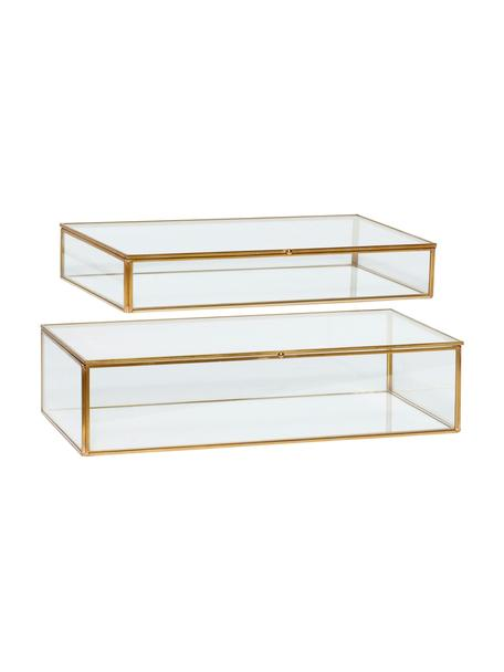 Set de cajas Karia, 2pzas., Caja: vidrio, Latón, transparente, Set de diferentes tamaños