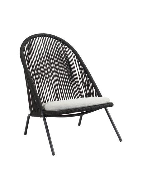 Fotel ze splotu z tworzywa sztucznego Shann, Stelaż: metal malowany proszkowo, Czarny, jasny szary, S 63 x G 73 cm
