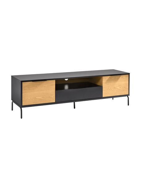 Mobile TV con ante e un cassetto Stellar, Nero, legno di quercia, Larg. 170 x Alt. 50 cm