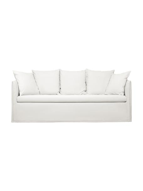 Hussen-Sofa Mila (3-Sitzer) in Cremeweiss, Bezug: Baumwolle 26.000 Scheuert, Gestell: Massives Fichtenholz, Cremeweiss, B 195 x T 82 cm