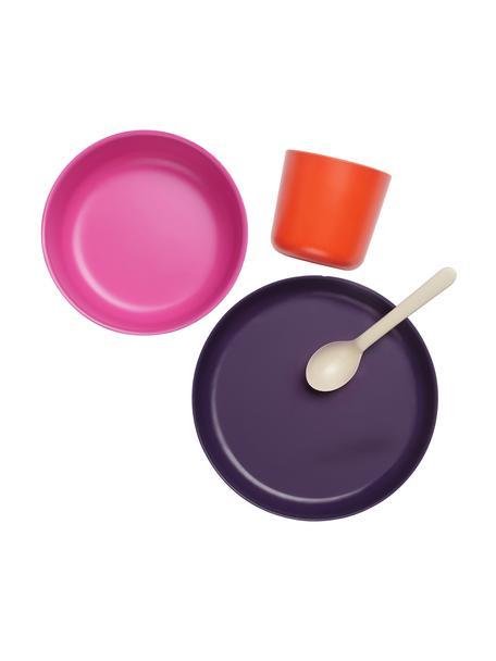Set de desayuno Ume, 4pzas., Fibras de bambú, melamina, apto para alimentos Libre de BPA, PVC y ftalatos, Violeta, rosa, rojo, blanco crema, Set de diferentes tamaños