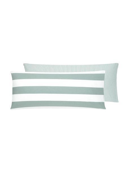 Funda de almohada de algodón  Lorena, caras distintas, Verde salvia, blanco, An 45 x L 110 cm