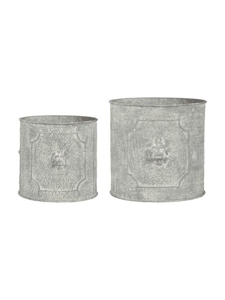 Übertopf-Set Lowa aus Metall, 2-tlg., Metall, Grau, Set mit verschiedenen Grössen
