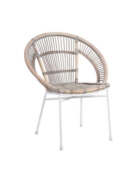Krzesło z rattanu Carmen, Nogi: metal lakierowany, Beżowy, S 63 x G 66 cm