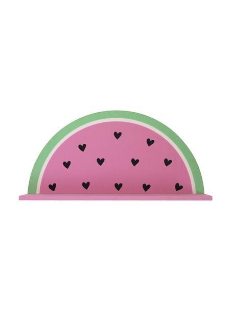 Wandregal Watermelon, Holz, beschichtet, Pink, Grün, Schwarz, Weiß, 37 x 19 cm