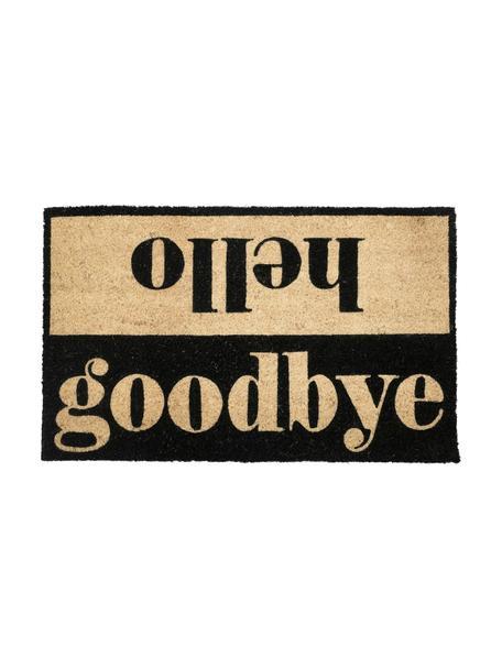 Deurmat Hello/Goodbye, Onderzijde: PVC, Beige, zwart, 45 x 75 cm