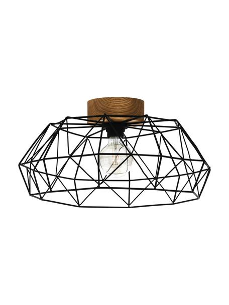Deckenleuchte Padstow, Lampenschirm: Metall, lackiert, Baldachin: Holz, Schwarz, Holz, Ø 46 x H 21 cm