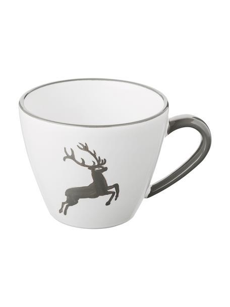 Handbeschilderd koffiekopje Gourmet Grey Deer, Keramiek, Grijs, wit, 200 ml