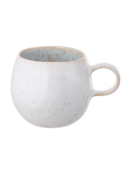 Handbemalte Teetassen Areia mit reaktiver Glasur, 2 Stück, Steingut, Hellblau, Gebrochenes Weiß, Hellbeige, Ø 9 x H 10 cm