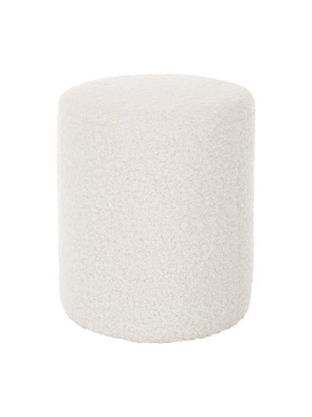 Pouf in teddybianco crema Daisy, Rivestimento: poliestere (teddy) 40.000, Struttura: compensato Imbottitura, Teddy bianco panna, Ø 38 x Alt. 45 cm
