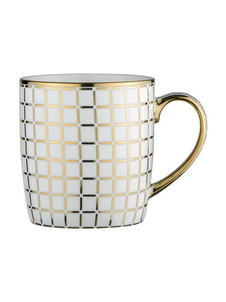 Kubek Lattice, 4 szt., Porcelana, Biały, odcienie złotego, Ø 9 x W 10 cm