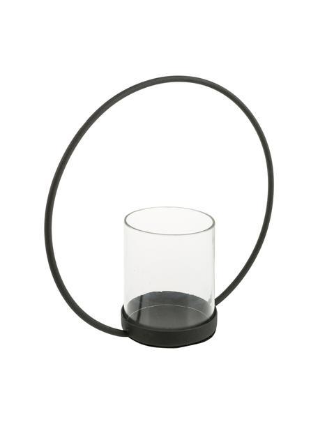 Windlicht Sander, Halterung: Edelstahl, lackiert, Windlicht: Glas, Schwarz, Transparent, 25 x 25 cm