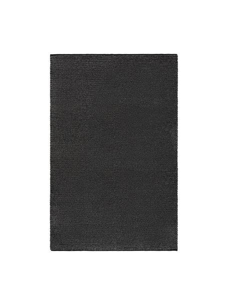 Handgewebter Wollteppich Uno in Dunkelgrau meliert mit geflochtener Struktur, 60% Wolle, 40% Polyester, Dunkelgrau, meliert, B 120 x L 170 cm (Größe S)